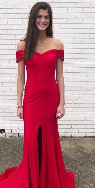 Red Prom Dress with Slit 2021, Formal Dress, Evening Dress, Dance Dresses, Graduation Party Dress, DT0771