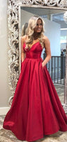 V Neckline Prom Dress with Pocketes, Prom Dresses, Graduation School Party Gown, DT0226