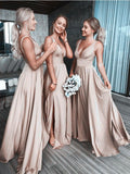 Sexy Bridesmaid Dresses With Slit, Bridesmaid Dress with Straps BM0002