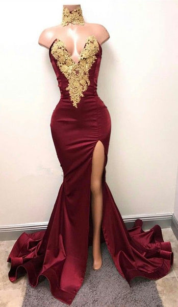 Mermaid Prom Dress with Slit, Special Occasion Dress, Evening Dress, Dance Dresses, Graduation School Party Gown, DT0698