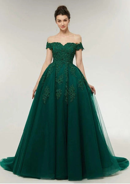 Green Prom Dress Off The Shoulder Straps, Prom Dresses, Pageant Dress, Evening Dress, Ball Dance Dresses, Graduation School Party Gown, DT0649