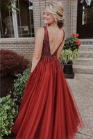 V Neckline Prom Dress with Slit, Prom Dresses, Pageant Dress, Evening Dress, Ball Dance Dresses, Graduation School Party Gown, DT0665