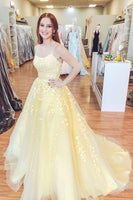 Yellow Lace Prom Dress Long, Prom Dresses, Pageant Dress, Evening Dress, Ball Dance Dresses, Graduation School Party Gown, DT0683