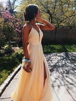 Yellow Prom Dress with Slit, Prom Dresses, Pageant Dress, Evening Dress, Ball Dance Dresses, Graduation School Party Gown, DT0658