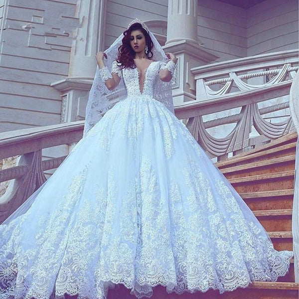 33f4865e7d287e Wholesale Princess Style Wedding Dress with Sleeves, Bridal Gown ,Dresses  For Brides, PM0060