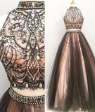 Two Pieces Prom Dress , Evening Gown, Graduation School Party Dress, Winter Formal Dress, DT0049