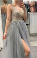 Sexy Silver Prom Dress Long, Special Occasion Dress, Evening Dress, Ball Dance Dresses, Graduation School Party Gown, DT0691