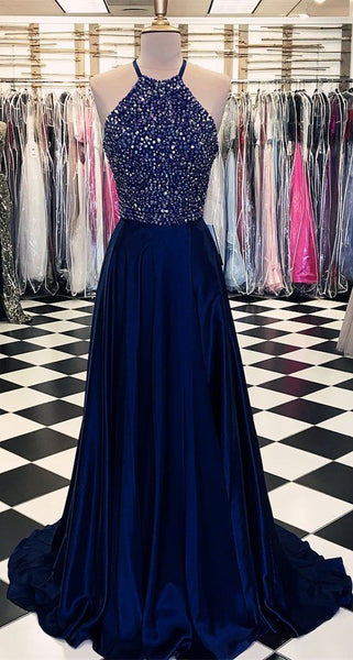Navy Prom Dress Beaded Top, Dresses For Graduation Party, Evening Dress, Formal Dress, DT0469