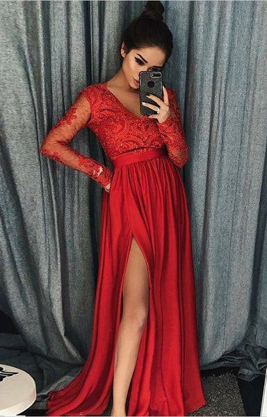Prom Dress Long Sleeves, Evening Dress, Dance Dresses, Graduation School Party Gown, DT0285