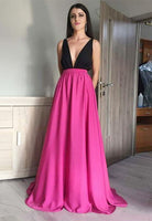 Prom Dress Deep V Neckline, Evening Dress, Formal Dresses, Graduation School Party Dance Dress, DT0401