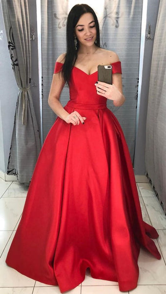 Red Prom Dress Off The Shoulder Straps, Evening Dress, Formal Dresses, Graduation School Party Dance Dress, DT0400