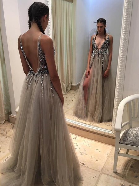 Sexy Backless Prom Dress, Prom Dresses, Evening Gown, Graduation School Party Dress, Winter Formal Dress, DT0031