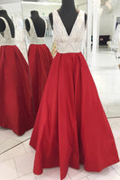Red A line Prom Dress, Graduation School Party Gown, Winter Formal Dress, DT0023