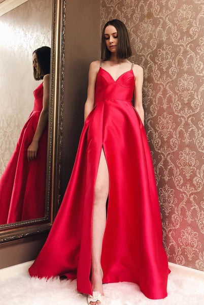 Prom Dress with Slit, Prom Dresses, Evening Gown,Graduation School Party Gown, Winter Formal Dress, DT0028