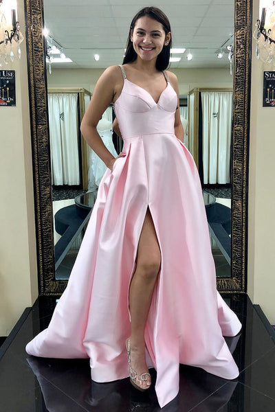 Light Pink Prom Dress with Slit, Prom Dresses, Evening Gown,Graduation School Party Gown, Winter Formal Dress, DT0027
