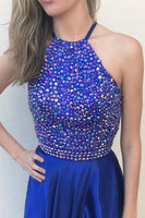 Royal Blue Prom Dress Halter Neckline, Prom Dresses, Evening Gown,Graduation School Party Gown, Winter Formal Dress, DT0033