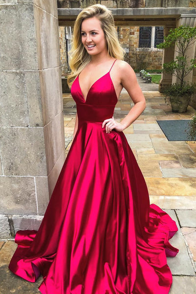 Prom Dress Long V Neckline, Ball Gown, Dresses For Party, Evening Dress, Formal Dress, DT0454