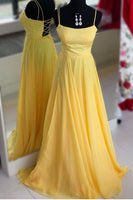 Simple Yellow Prom Dress , Dresses For Graduation Party, Evening Wear, Winter Formal Dress, DT0513