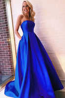 Royal Blue Prom Dress With Pockets, Evening Dress, Formal Dresses, Graduation School Party Dance Dress, DT0403