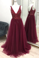 Beaded Prom Dress with Slit, Prom Dresses, Pageant Dress, Evening Dress, Ball Dance Dresses, Graduation School Party Gown, DT0642
