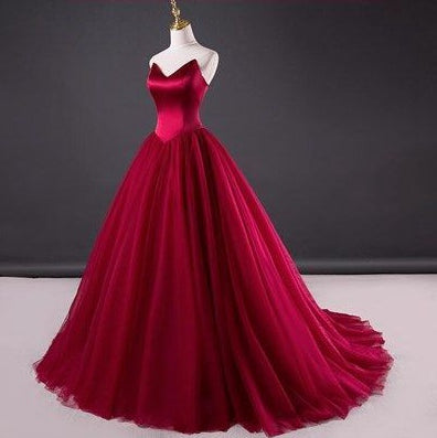 Burgundy Prom Dress, Ball Gown, Dresses For Party, Evening Dress, Formal Dress, DT0447