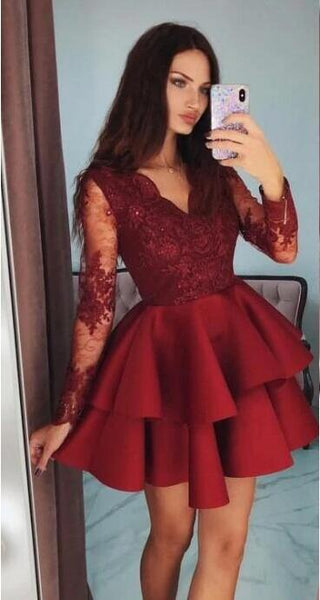 Homecoming Dress Long Sleeves, Short Prom Dress ,Dresses For Graduation Party, Evening Dress, Formal Dress, DTH0750