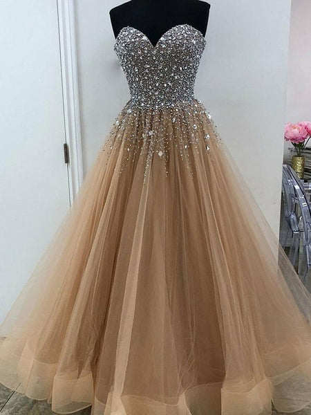 Brown Prom Dress Beaded Top , Dresses For Graduation Party, Evening Dress, Formal Dress, DT0489