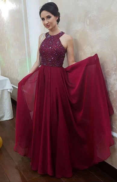 Prom Dress Halter Neckline, Evening Gown, Graduation School Party Dress, Winter Formal Dress, DT0053