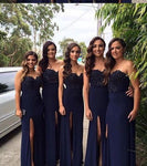 Navy Bridesmaid Dresses with Slit, Bridesmaid Dress For Wedding BM0014