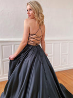 Black Prom Dresses Lace Up Back, Special Occasion Dress, Evening Dress, Dance Dresses, Graduation School Party Gown, DT0714