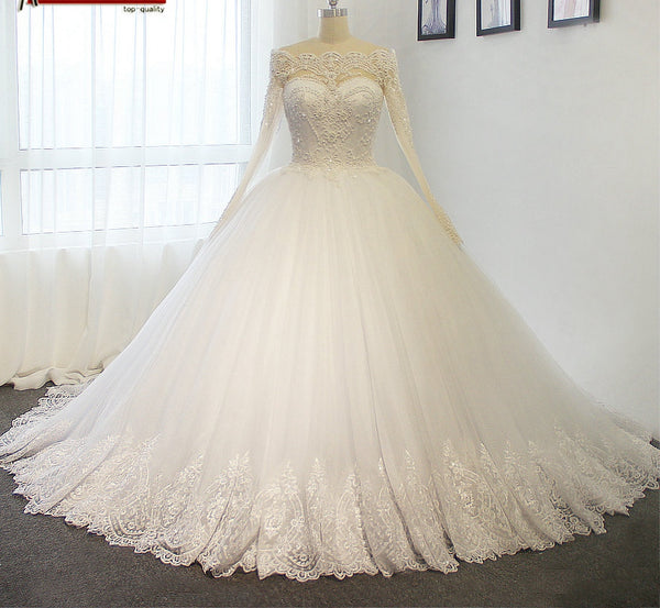 Princess Wedding Dress with Sleeves, Dresses For Wedding, Bridal Gown ,Bride Dress, Dresses For Brides, PM0083
