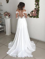 Sexy Long Sleeves Wedding Dress Slit Skirt, Bridal Gown ,Bride Dress, Dresses For Brides, PM0077