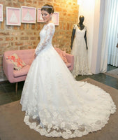 New Style Lace Wedding Dress Long Sleeves, Bridal Gown ,Dresses For Brides, PM0008