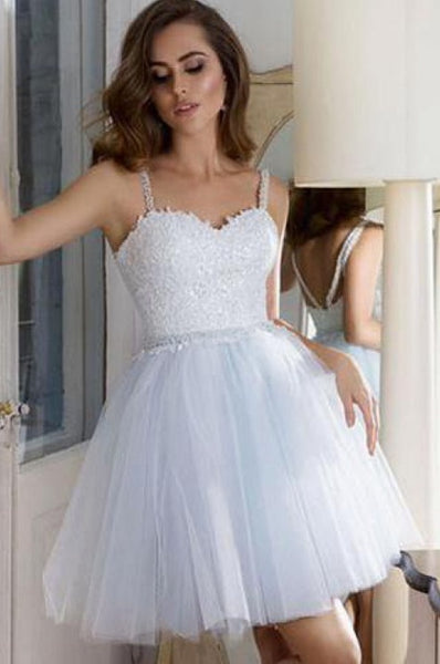 White Homecoming Dress, Short Prom Dress ,Dresses For Graduation Party, Evening Dress, Formal Dress, DTH014