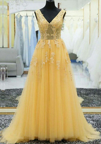 Yellow Prom Dresses Long, Ball Gown, Dresses