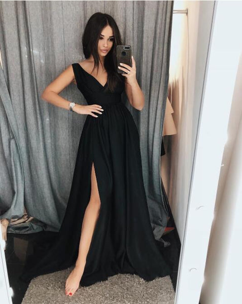 Black Prom Dress With Silt, Dresses For Graduation Party, Evening Dress, Formal Dress, DT0507