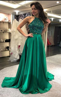 Green Prom Dress Halter Neckline, Pageant Dress, Evening Dress, Dance Dresses, Graduation School Party Gown, DT0593