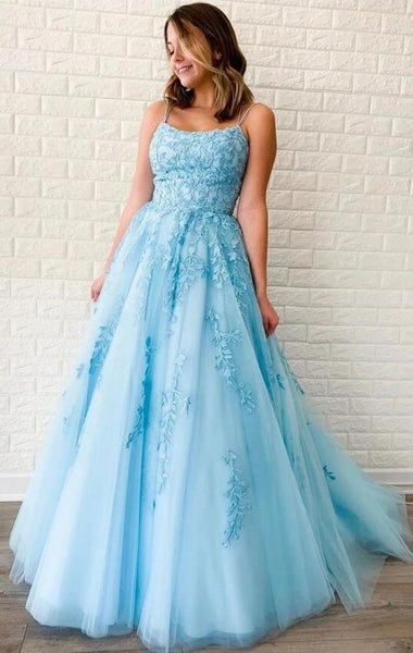 Light Blue Prom Dress with Straps, Prom Dresses, Pageant Dress, Evening Dress, Ball Dance Dresses, Graduation School Party Gown, DT0654