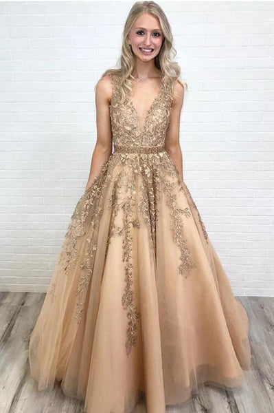 Champagne Prom Dress Low Cut, Homecoming Dress ,Formal Dress, Evening Dress, Dance Dresses, DT0792