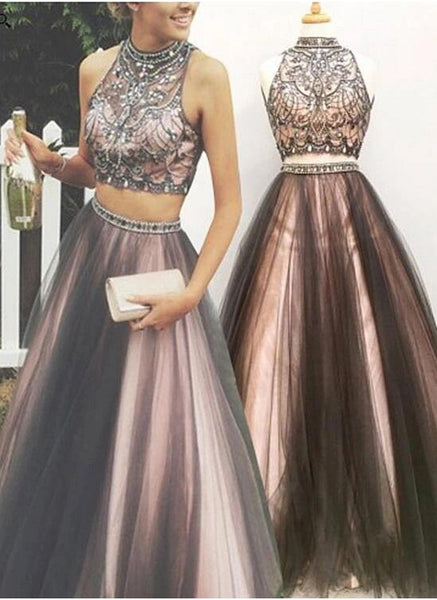 Two Pieces Prom Dress Halter Neckline, Homecoming Dress, Formal Dress, Evening Dress, Dance Dresses, Graduation Party Dress, DT0748