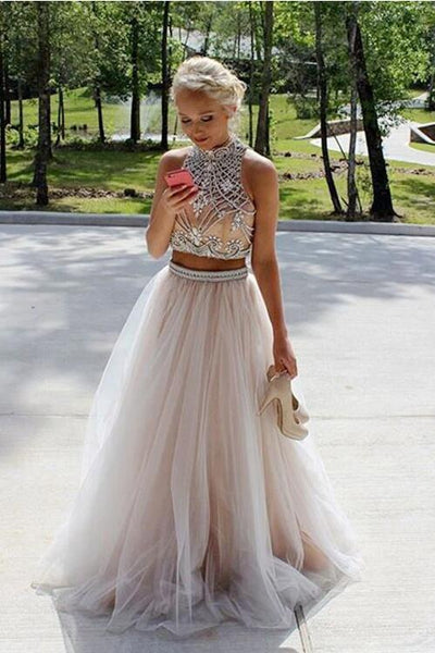 Two Pieces Prom Dress, Formal Dress, Evening Dress, Dance Dresses, Graduation School Party Gown, DT0727