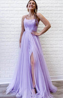 Long Prom Dress with Slit, Formal Dress, Evening Dress, Dance Dresses, Graduation School Party Gown, DT0726