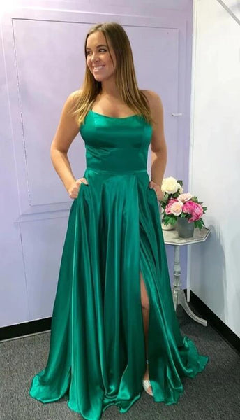 Sexy Green Prom Dress with Slit, Formal Dress, Evening Dress, Dance Dresses, Graduation School Party Gown, DT0719