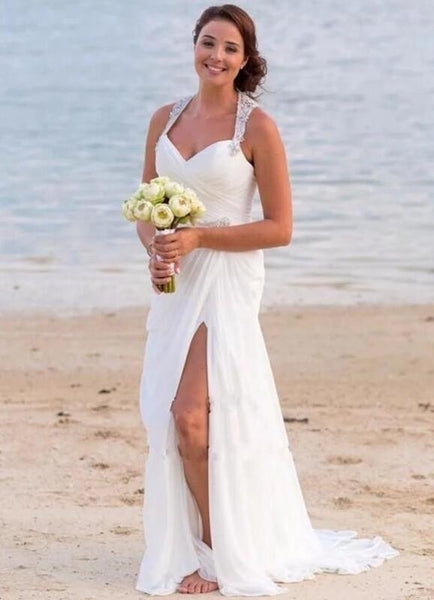 Sexy Beach Wedding Dress Slit Skirt, Dresses For Wedding, Bridal Gown ,Bride Dress, Dresses For Brides, PM0097