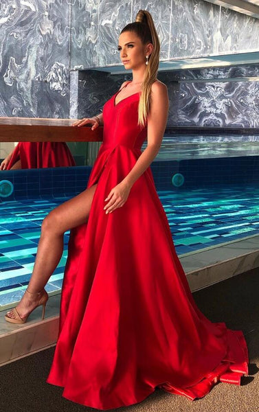 Sexy Prom Dress with High Slit, Formal Dress, Evening Dress, Dance Dresses, Graduation Party Dress, DT0765