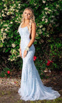 Light Blue Mermaid Lace Prom Dress 2020, Pageant Dress, Evening Dress, Dance Dresses, Graduation School Party Gown, DT0554
