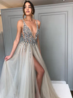 Sexy Prom Dress with Slit, Ball Gown, Dresses For Party, Evening Dress, Formal Dress, DT0432