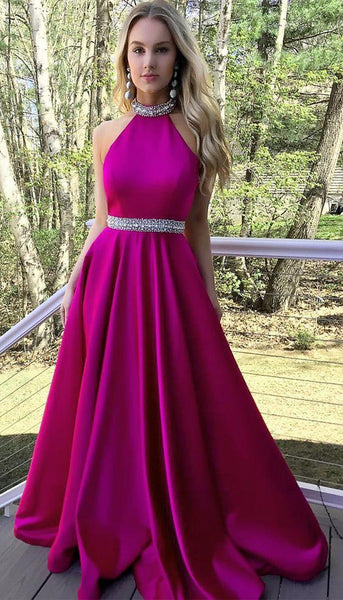 Prom Dress For Teens Halter Neckline, Prom Dresses, Graduation School Party Gown, DT0216