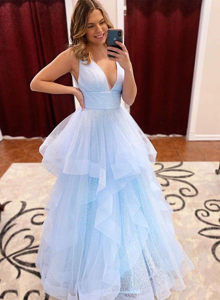 Pale Blue Prom Dresses Long, Formal Dress, Evening Dress, Dance Dresses, Graduation School Party Gown, DT0722
