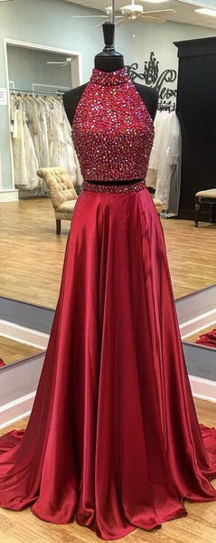Two Pieces Prom Dress Halter Neckline, Prom Dresses, Evening Gown, Graduation School Party Dress, Winter Formal Dress, DT0096